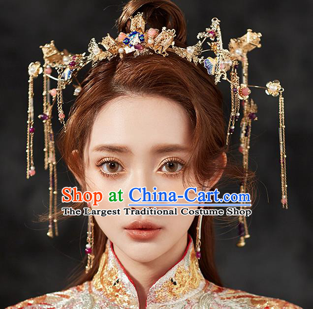 Chinese Ancient Hair Accessories Wedding Hair Clip Hairpins Traditional Blueing Phoenix Coronet for Women