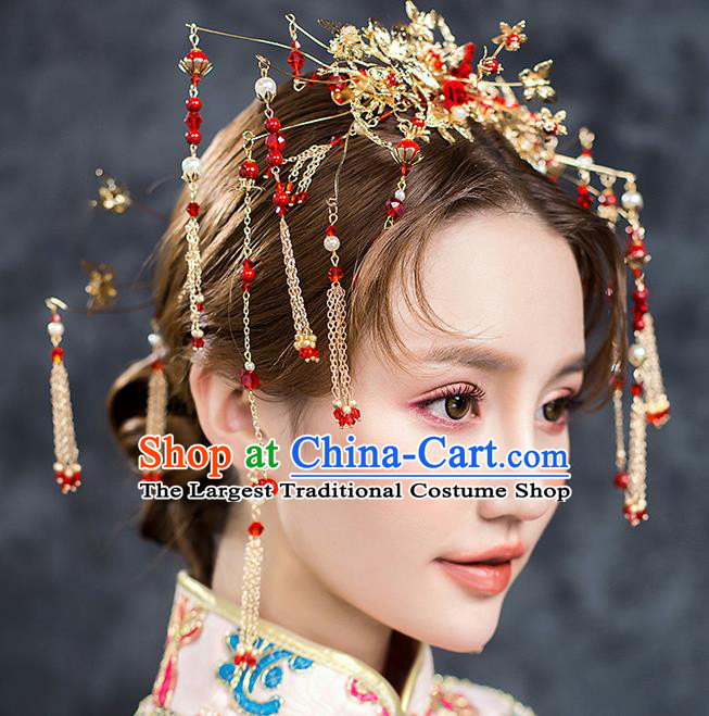 ee6a951c7 Chinese Ancient Hair Accessories Wedding Tassel Hairpins Traditional Xiuhe  Suit Hair Crown for Women