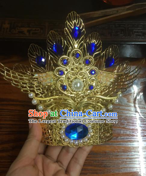 Chinese Ancient Swordsman Hair Accessories Traditional Prince Blue Crystal Hair Crown for Men