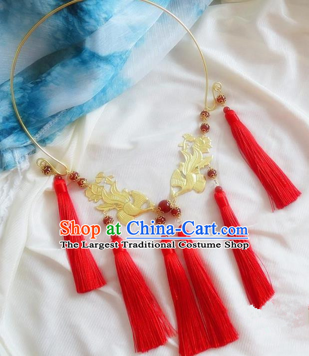 Chinese Ancient Princess Jewelry Accessories Traditional Hanfu Red Tassel Necklace for Women