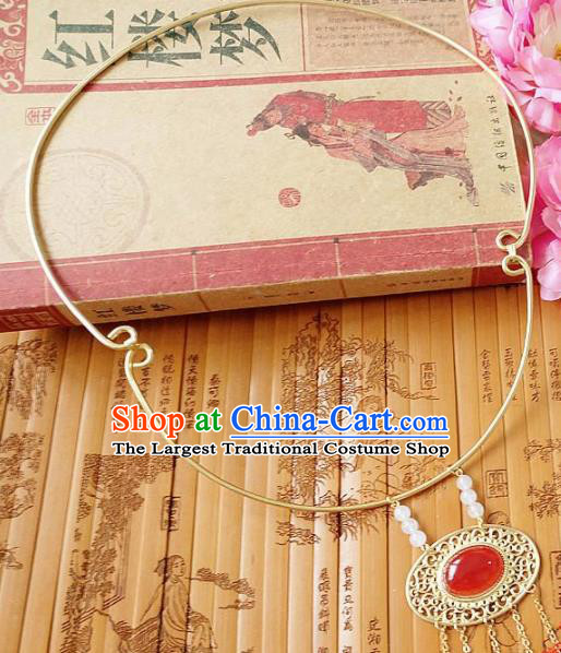 Chinese Ancient Princess Jewelry Accessories Traditional Hanfu Agate Longevity Lock Necklace for Women