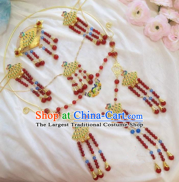 Chinese Ancient Wedding Hair Accessories Complete Set Traditional Hanfu Necklace Hairpins for Women