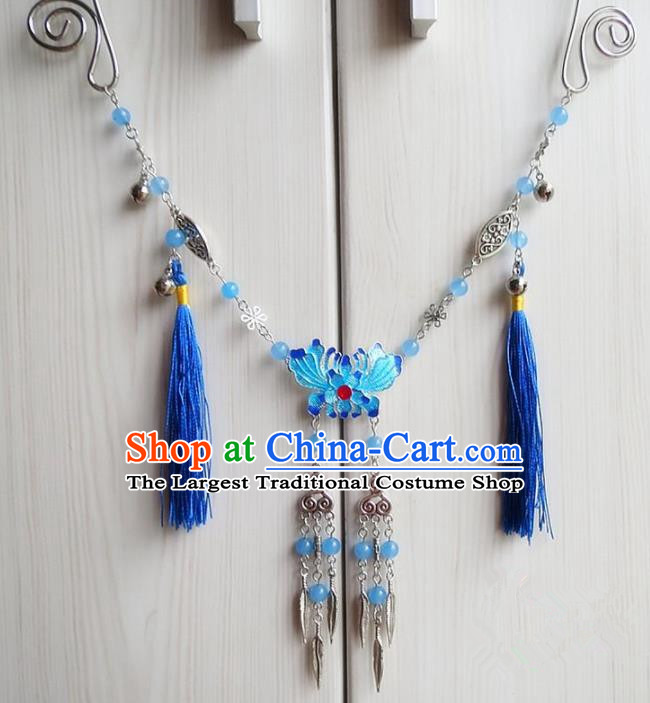 Chinese Ancient Bride Hanfu Accessories Traditional Palace Blueing Lotus Necklace for Women