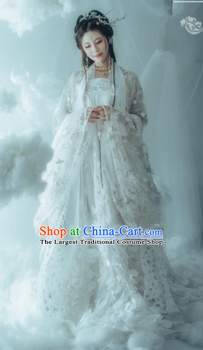 Traditional Chinese Tang Dynasty Princess Replica Costumes Ancient Peri White Hanfu Dress for Women