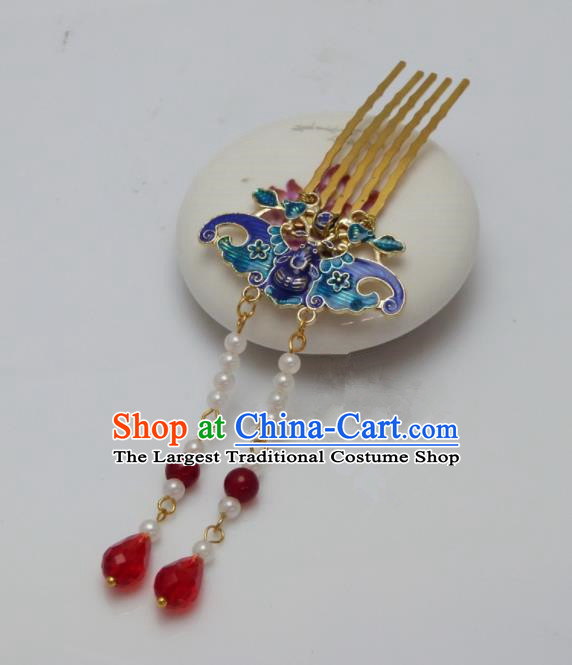 Chinese Ancient Qing Dynasty Queen Hair Accessories Traditional Palace Blueing Bat Hair Comb Hairpins for Women