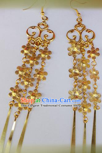 Chinese Ancient Princess Jewelry Accessories Traditional Hanfu Golden Flowers Tassel Earrings for Women