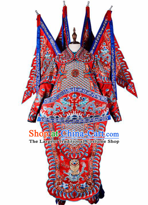 Professional Chinese Beijing Opera Costume Traditional Peking Opera General Red Clothing for Adults