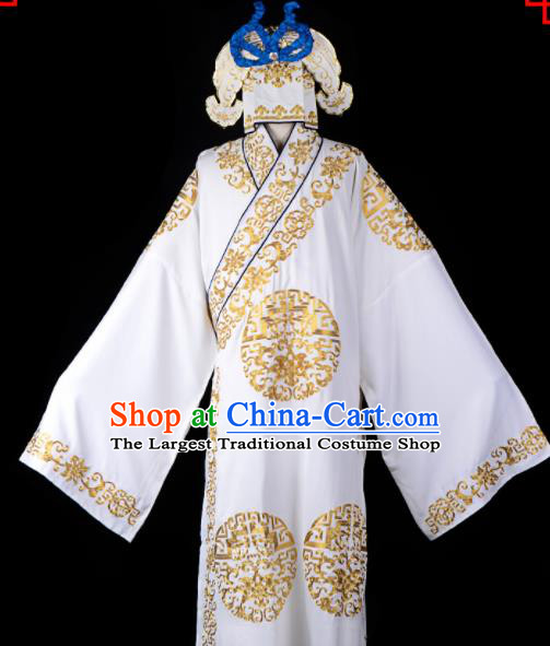 Professional Chinese Beijing Opera Costume Traditional Peking Opera Scholar White Robe and Hat for Adults