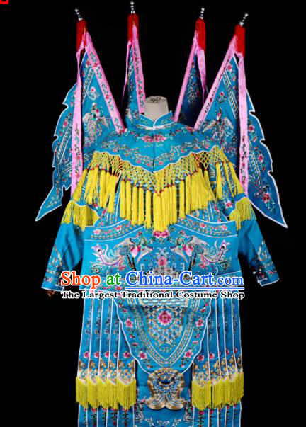 Professional Chinese Traditional Beijing Opera Female General Costume Peking Opera Blue Clothing for Adults