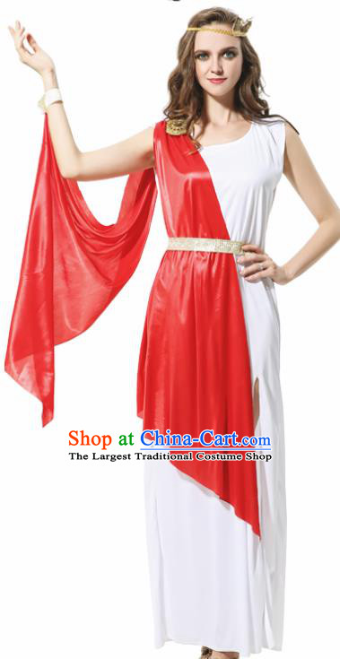 Traditional Greece Costume Ancient Greek Goddess Garment Garden of Eden Athena Red Dress for Women