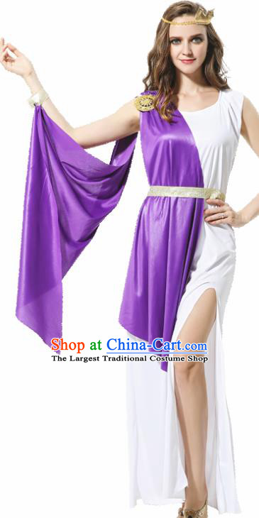 Traditional Greece Costume Ancient Greek Goddess Garment Garden of Eden Athena Purple Dress for Women