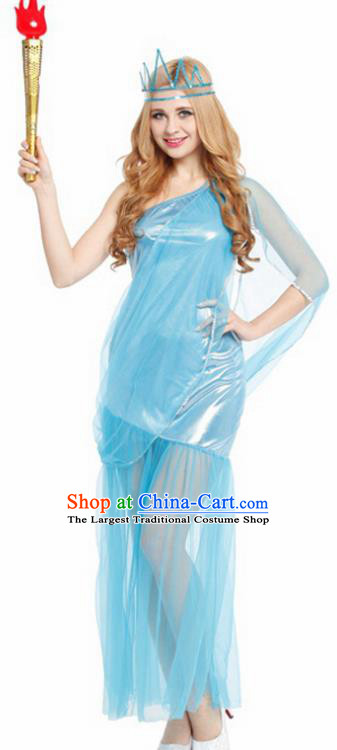 Traditional Greece Costume Ancient Greek Goddess Blue Dress for Women