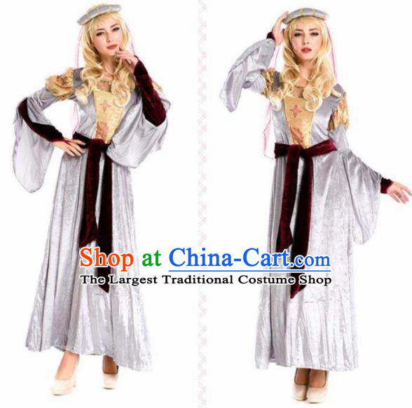 Traditional Greek Goddess Costume Ancient Greek Princess Grey Dress for Women