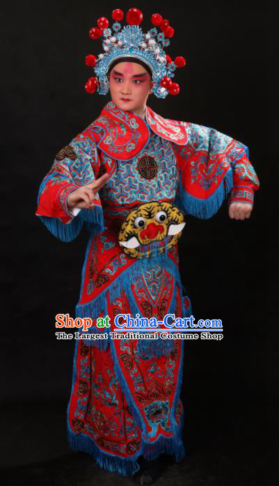 Professional Chinese Beijing Opera Takefu Costume Traditional Peking Opera Warrior Red Clothing for Adults