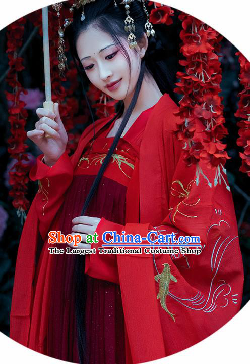 Chinese Ancient Palace Princess Red Dress Traditional Tang Dynasty Wedding Replica Costume for Women