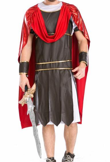 Traditional Roman Male Costume Ancient Rome Warrior Black Tunics Clothing for Men