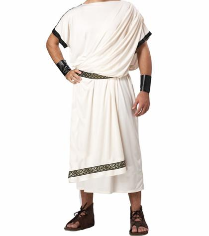 Traditional Roman Senator Costume Ancient Rome Conscript Fathers Clothing White Toga for Men