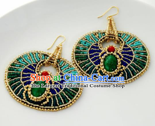 Traditional Egyptian Jewelry Accessories Ancient Egypt Green Gem Earrings for Women