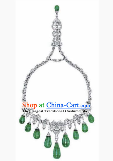Traditional Egyptian Queen Jewelry Accessories Ancient Egypt Palace Green Gem Necklace for Women