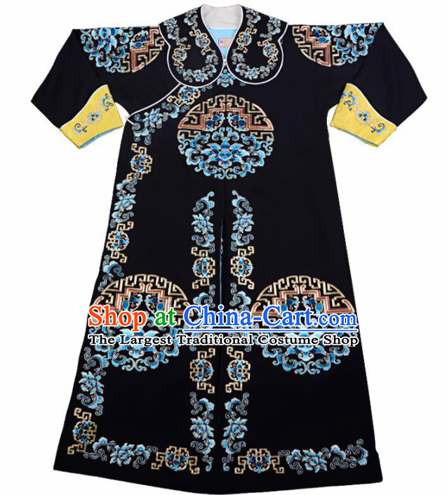 Professional Chinese Beijing Opera Takefu Costume Traditional Ancient Swordsman Embroidered Black Clothing for Adults