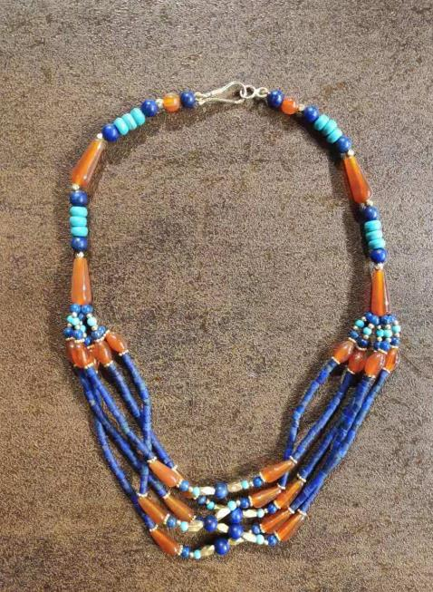 Traditional Egyptian Jewelry Accessories Ancient Egypt Sapphire Beads Necklace for Women