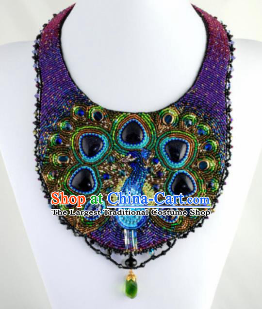 Traditional Egyptian Jewelry Accessories Ancient Egypt Purple Beads Peacock Necklace for Women