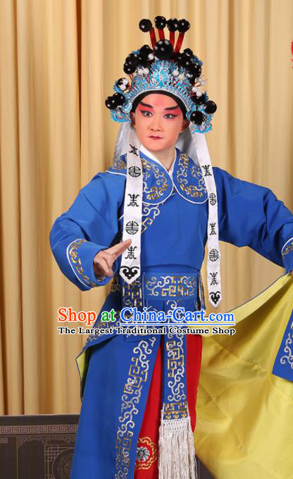 Professional Chinese Beijing Opera Takefu Costume Ancient Imperial Bodyguard Blue Clothing for Adults