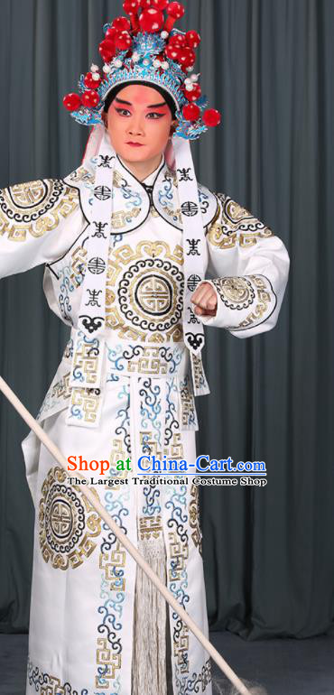 Professional Chinese Beijing Opera Takefu Costume Ancient Swordsman White Clothing for Adults