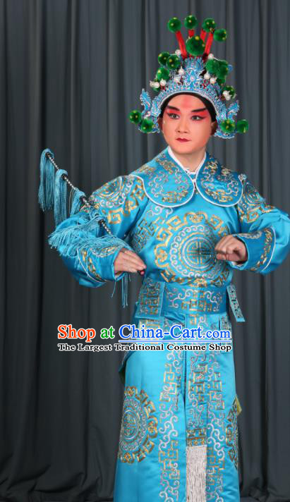 Professional Chinese Beijing Opera Takefu Costume Ancient Swordsman Blue Clothing for Adults