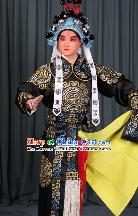 Professional Chinese Beijing Opera Takefu Costume Ancient Swordsman Black Clothing for Adults