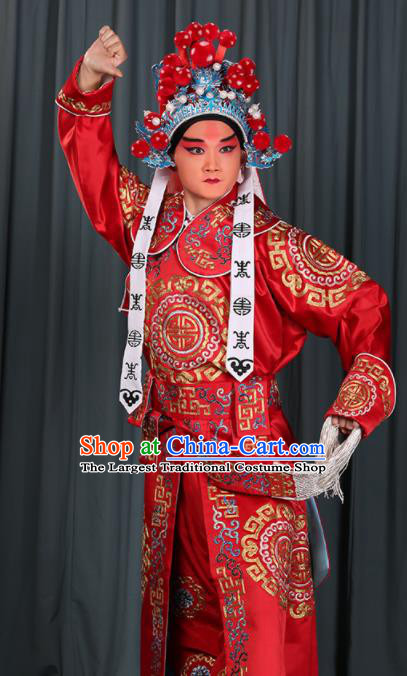 Professional Chinese Beijing Opera Takefu Costume Ancient Swordsman Red Clothing for Adults