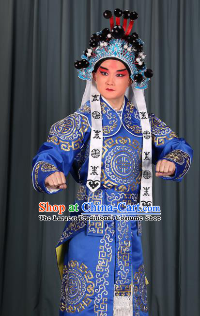 Professional Chinese Beijing Opera Takefu Costume Ancient Swordsman Royalblue Clothing for Adults