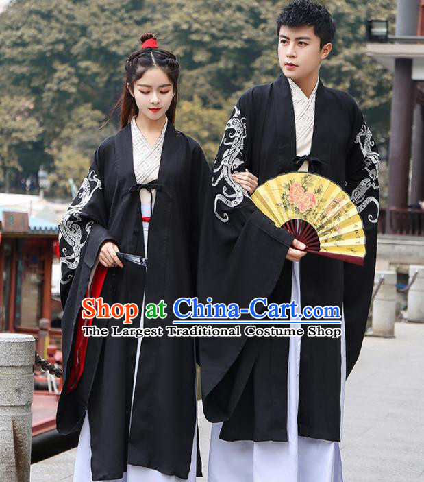 Chinese Ancient Hanfu Dress Traditional Jin Dynasty Swordsmen Replica Costume for Women for Men