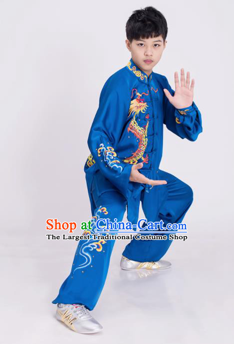 Top Kung Fu Competition Costume Group Martial Arts Gongfu Training Embroidered Dragon Blue Uniform for Men