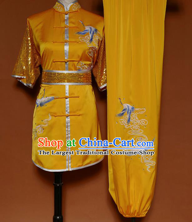 Top Kung Fu Group Competition Costume Martial Arts Training Embroidered Cranes Yellow Uniform for Men