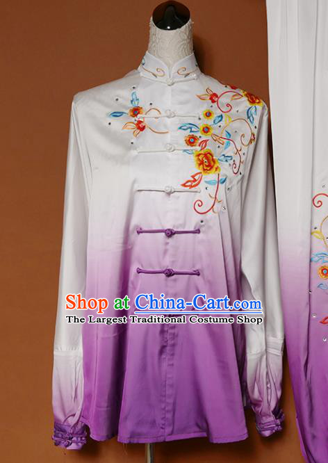 Top Group Kung Fu Costume Tai Ji Training Embroidered Flowers Purple Uniform Clothing for Women