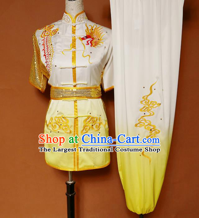 Top Kung Fu Competition Costume Group Martial Arts Training Embroidered Dragon Yellow Uniform for Men