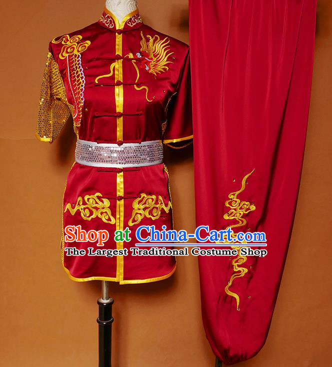 Top Kung Fu Competition Costume Group Martial Arts Training Embroidered Dragon Red Uniform for Men
