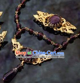 Traditional Greek Queen Jewelry Accessories Ancient Greece Amethyst Necklace for Women