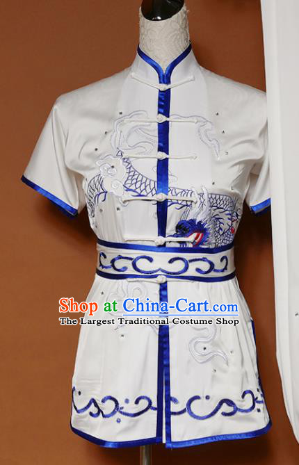 Top Kung Fu Group Competition Costume Martial Arts Wushu Embroidered Dragon White Uniform for Men