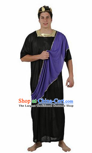 Traditional Greek Warrior Costume Ancient Greece Prince Black Chitons for Men