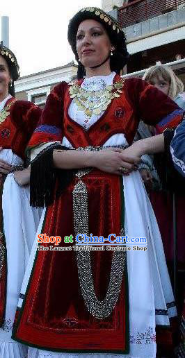Traditional Greek Festival Costume Strophion Peplos Ancient Greece Goddess Red Dress for Women
