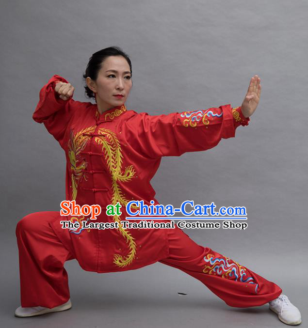 Top Tai Ji Training Embroidered Phoenix Red Uniform Kung Fu Group Competition Costume for Women