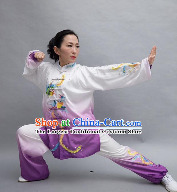 Top Tai Ji Training Embroidered Phoenix Purple Uniform Kung Fu Group Competition Costume for Women
