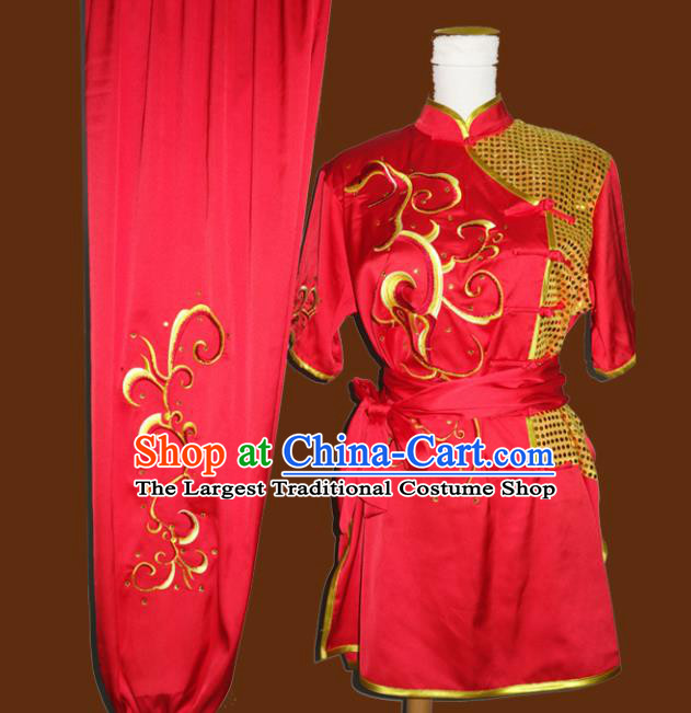Top Grade Kung Fu Embroidered Red Costume Chinese Tai Chi Martial Arts Training Uniform for Adults