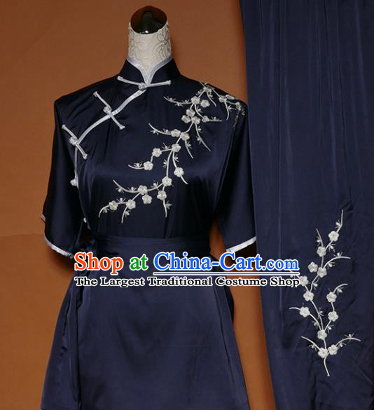 Chinese Traditional Tai Chi Embroidered Plum Blossom Navy Uniform Kung Fu Group Competition Costume for Women