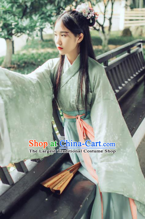 Chinese Ancient Green Hanfu Dress Jin Dynasty Swordswoman Traditional Historical Costume for Women