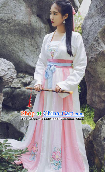 Chinese Ancient Peri Hanfu Dress Tang Dynasty Young Lady Traditional Historical Costume for Women