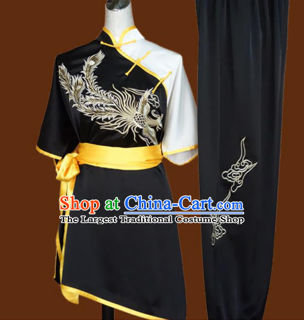 Top Grade Kung Fu Embroidered Black Costume Chinese Tai Chi Martial Arts Training Uniform for Adults