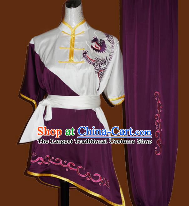 Top Grade Kung Fu Embroidered Purple Costume Chinese Tai Chi Martial Arts Training Uniform for Adults